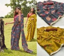 Festive Wear Printed MKC MANIPURI SILK SAREE, Without blouse piece, 6.3 m (with blouse piece)