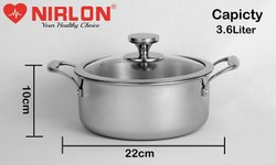 Nirlon Platinum Triply Stainless Steel Casserole 22 Glass Lid