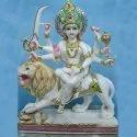 Goddess Maa Durga Gold Touch White Marble Statue