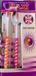 Adult Medium Maxi Toothbrush 360, 10 on 10, Zebra, For Tooth Cleaning, Packaging Size: 12 Pcs Outer