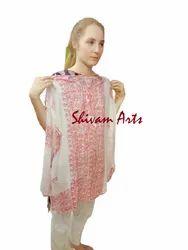 Shivam Arts Regular Casual Wear Full Sleeves White Printed Kurti, Wash Care: Handwash, Size: Large
