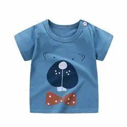 1-10 Years Cotton Hosiery Sky Blue Printed Boys T Shirt