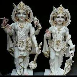 Lords Shri Narayan Jodi Gold Touch White Marble Statue