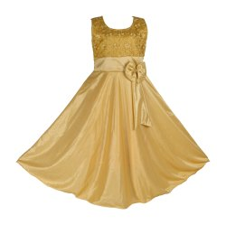 Beige Satin Girls Designer Long Gown, Upto 14 Years