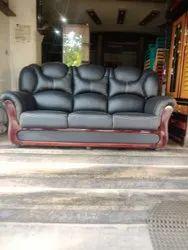 Black Leather Designer Elite Sofa, 5 Inch