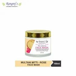 Rangrej''s Aromatherapy Multani Mitti & Rose Face Mask for Glowing & Brightening Skin 100ml