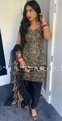Gold Chevron Pattern Embroidered Sequins Work Premium Net Fabric Saree