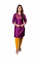 Party Wear Straight Ladies Silk Festive Kurti With Embroidered Yoke, Wash Care: Handwash