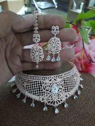 Artificial Diamond Silver Necklace Set, Size: Adjustable