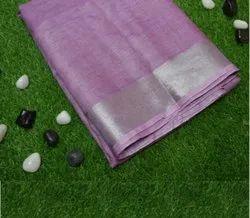 Casual Wear Violet Linen Plain Saree, 6.3 m (with blouse piece)