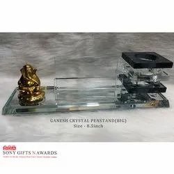 Lord Ganesh Ganpati Long Crystal Glass Transparent Pen Holder Stand