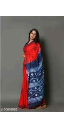Casual Wear Red, Blue handblock Printed Mulmul Cotton Saree, 6.3 mm (with blouse piece)
