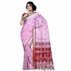 Printed Pink Designer Khadi Cotton Saree, 6 m (with blouse piece)