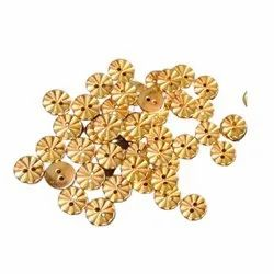 Golden Metal Buttons, For Garment, Size/Dimension: 10 Mm