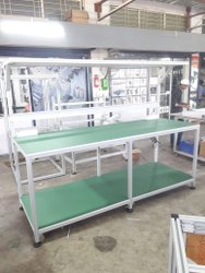 Aluminium Extrusion Silver Industrial Work Bench, Size: 1500x750x1800