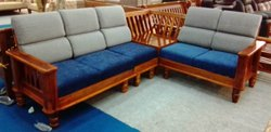 L Shape Wooden Corner Sofa Set