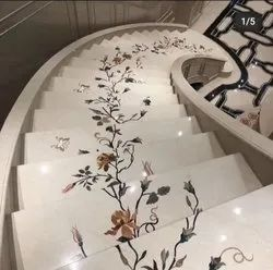 Laminate Flooring Residential Building Floral Designed Marble Staircase Work, For Indoor