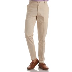 Finnoy Men Cotton Cream Color Trouser