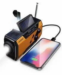 Black And Orange Solar Hand Crank Portable FM Radio, 3.7 Volts