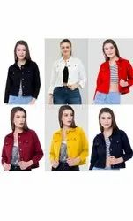 branded Denim Casual Wear Solid Casual Jackets For Women