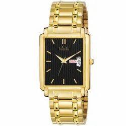 Bezelo Men Rectangular Dial Golden Wrist Watches