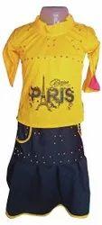 Rayon Cotton Yellow,Black Kids Girl Dress
