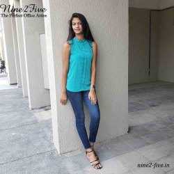 Plain Nine2Five Turquoise Silk Pleated Top