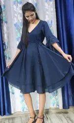 Blue 3/4 Sleeve Casual Ladies Short Dresses, Size: S-xxl