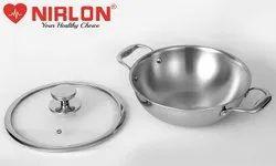 26cm 3.3 Liter Nirlon Platinum Stainless Steel Triply Induction Deep Kadai