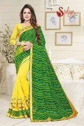 Bandhani Ruffle Designer Saree