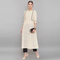Janasya Women's Cream Pure Cotton Kurta With Pant(J0134)