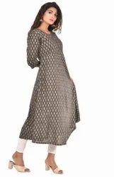 Casual Wear 3/4th Sleeve Ladies Designer Printed Rayon Kurti, Size: M-XXL, Wash Care: Machine wash