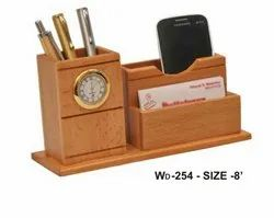Wooden Finish Engineered Multipurpose Pen Stand Table Top