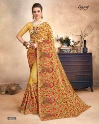 Cream Color Kashmiri Work Saree