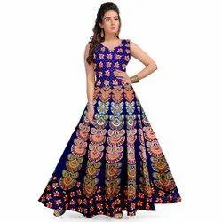Printed Wedding Wear Fancy Cotton Long Dress