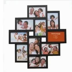 Solid Wood Black 10 Photos Collage Frame, For Decoration