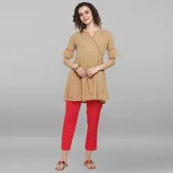 Janasya Women's Beige Weaved Cotton Top (J0049)