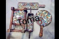 Printed Mangowood Meenakari Enameled Combo Wooden Platters