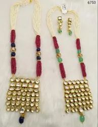 Bandhani Jadau Kundan Necklace Set