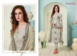 Nayaab Grey Masline Embroidered Suit