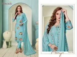 Nayaab Blue Masline Embroidered Suit