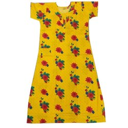 Cotton Printed Yellow Girls Nightwear Suit, Size: 26.0