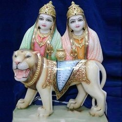 Goddesses Maa Chamunda Devi Multi Color Paint Marble Statue