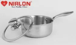 16cm Nirlon Platinum Triply Stainless Steel Saucepan with Glass Lid