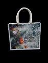 Printed Blue Christmas Shopping Bag