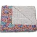 Decorative Printed Queen Kantha Cotton Quilt Ethnic Floral Printed Kantha Quilted Bedspread