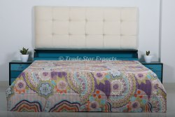 Floral Printed Kantha Cotton Quilt Ethnic Handmade Kantha Queen Throw Bedspread