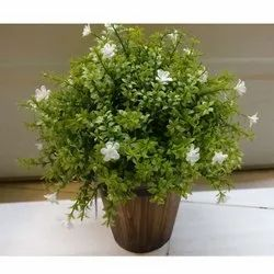 Artificial Potted Plant with White Flower