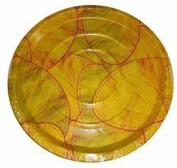 Circular Printed 120 GSM Sal Patta Paper Plate, Size: 14 Inch