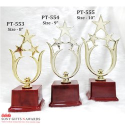 3 Star Golden Finish Fancy Plastic Firer Trophy